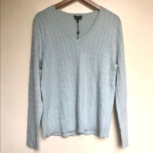 Talbots light blue v-neck cable knit sweater NWT